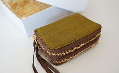 [№5535-0060]本庄織物×レザーのコインカードケース(オリーブ色)
