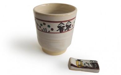 [№5990-0100]奈良絵湯呑と箸置2客