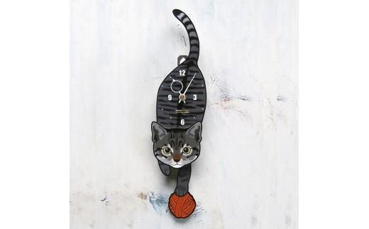 <C-007 キジトラ(子猫)-猫の振り子時計>