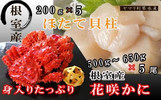 CD-34004 【北海道根室産】花咲ガニ500~650g前後×5尾、ほたて貝柱1kg