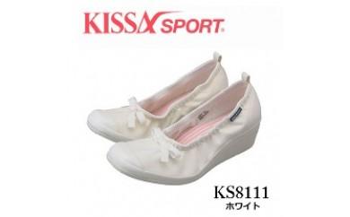 KISSA SPORT キサスポーツ(ホワイト) リボン付ウェッジソールパンプス KS8111(サイズ:22.0~24.5)【バリエーションBR101a-BR101f-V】