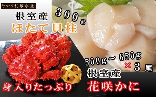 CC-34010 【北海道根室産】花咲ガニ500~650g前後×3尾、ほたて貝柱300g