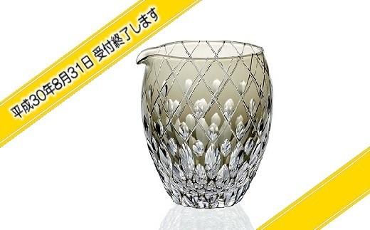 H-1314 カガミクリスタル社製 伝統工芸士作「江戸切子 冷酒片口(黒色)」