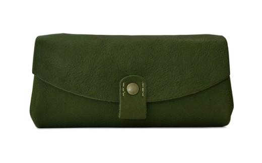 H224 日本製本革レディース長財布 カーキ