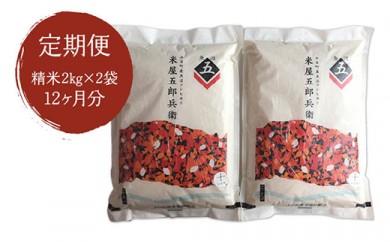 【定期便/全12回】十日町産魚沼コシヒカリ 米屋五郎兵衛 精米2kg 2袋セット
