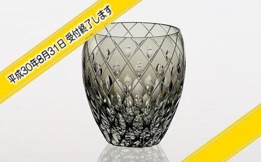 H-1309 カガミクリスタル社製 伝統工芸士作「江戸切子 焼酎ロックグラス(黒色)」