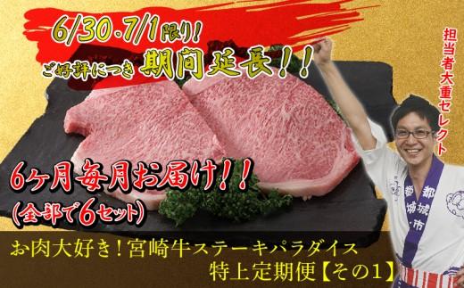 T50-MY01_担当者「大重セレクト!」お肉大好き!宮崎牛ステーキパラダイス特上定期便その1