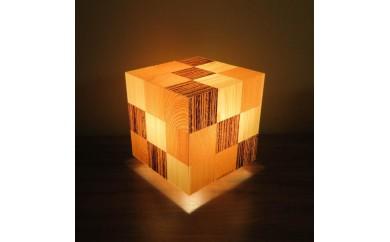 アクリキューブ行灯 銘木ツキ板 寄木市松模様 LED電球
