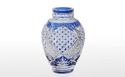 F-1352 カガミクリスタル社製「江戸切子 花瓶<麻の葉に八角籠目紋>」