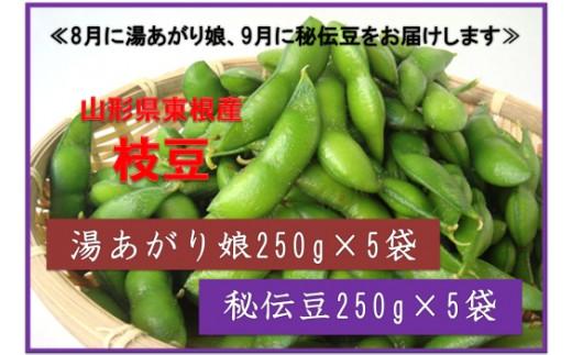 A-0704 2019年産 枝豆「湯あがり娘」1.25kg &「秘伝豆」1.25kg