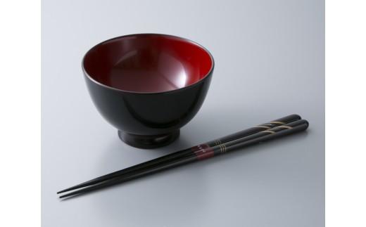 D6 若狭塗箸「貝・螺鈿 月時雨」・つぼみ型汁椀[髙島屋選定品]