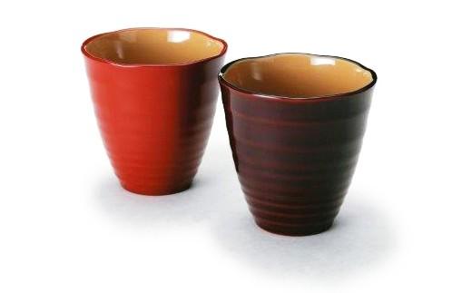 【3P】優しく手になじむ『越前漆器のフリーカップ1客(朱・溜)』 [B00310]