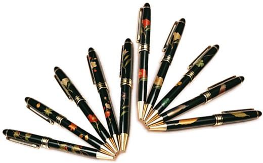 【6P】蒔絵が高級感光る『越前漆器 手書き蒔絵ボールペン』 [B00603]