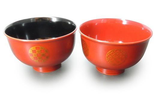 【6P】越前漆器★伝統の洗練された美しさ『日月紋様 夫婦汁椀』 [B00606]