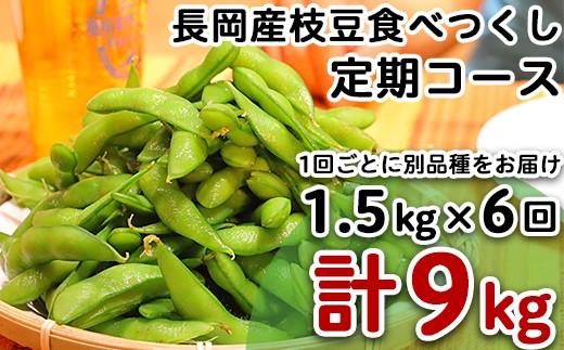 3-042 長岡産枝豆【1.5kg×6回お届け】食べつくし定期コース