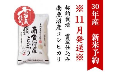 【30年産新米予約11月発送】契約栽培 雪蔵貯蔵米 南魚沼産こしひかり5kg