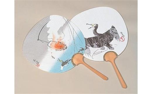(73) うちわ(玉堂) 2本セット (縦41cm 横27cm)