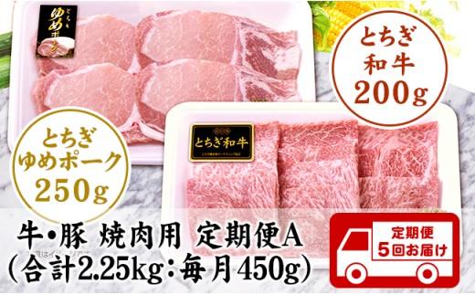 G001・栃木県産牛/豚 焼肉用 定期便A(毎月450g:全5回お届け)