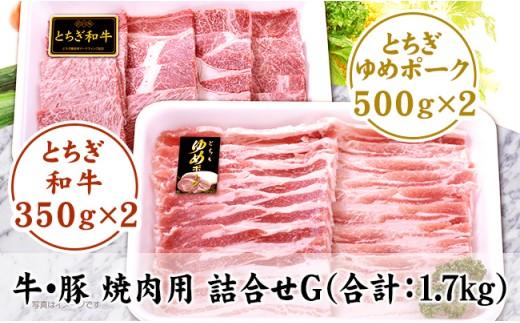 F001・栃木県産牛/豚 焼肉用 詰合せG(合計:1.7kg)