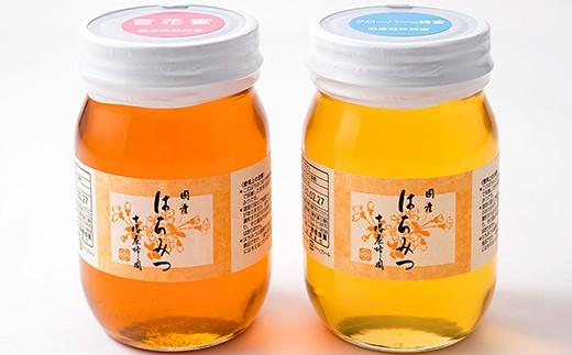 [Y032]十勝養蜂園 国産はちみつクローバー・百花蜜<500g×2本>