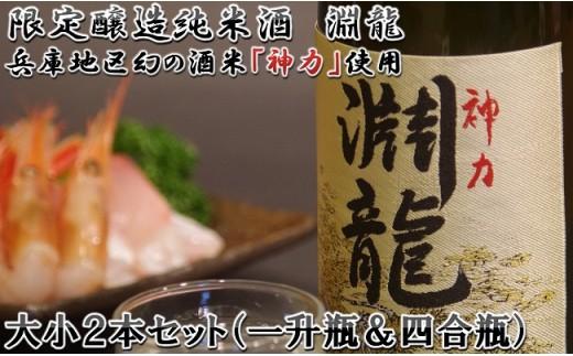 [A-1351] 地域振興の追い風に!限定醸造純米酒 「淵龍」 大小2本セット(一升瓶&四合瓶)