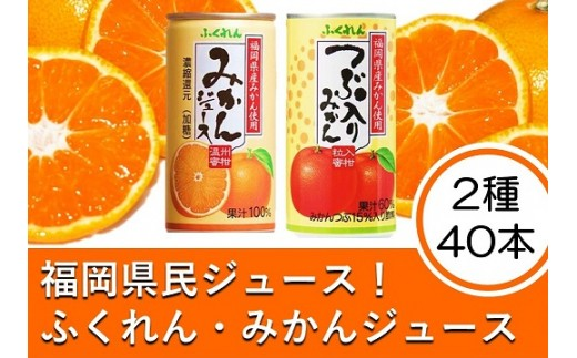 A402 福岡県民ジュース みかんジュース・つぶつぶみかんジュースの2種40缶セット