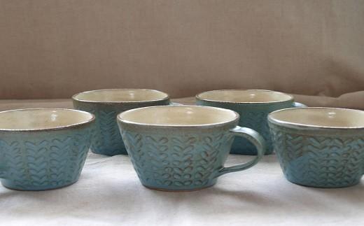 2002【こだわりの陶芸】青いマグカップ 5個セット