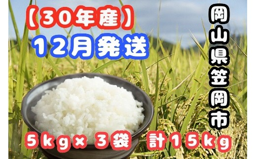【R30-12】30年産新米「笠岡ふるさと米」15kg(12月発送)