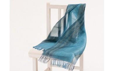手織りショール(ブルー)