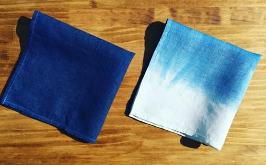 AI001室戸オーガニック藍で染めた100%リネンハンカチ2枚セット