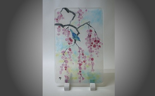 "D-2232 ""一点もの""無鉛ステンドグラス「枝垂れ桜」"