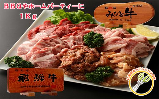 【33059】BBQブランド牛飛騨牛カルビと赤身牛ロース豚肉&鶏肉1Kg