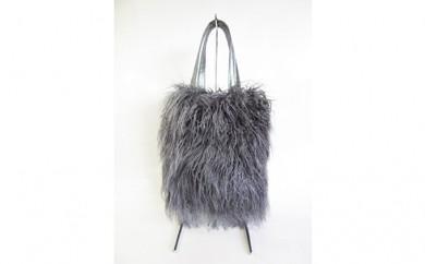 [№5910-0175]くるくるチベットラム毛皮手提げバッグ グレー