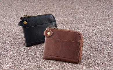 [№5696-3338]「馬革ポケット財布」ブラック:ストラップ付