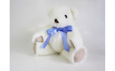 [№5910-0186]ふわふわ可愛い 高級ホワイトミンク毛皮使用テディベア