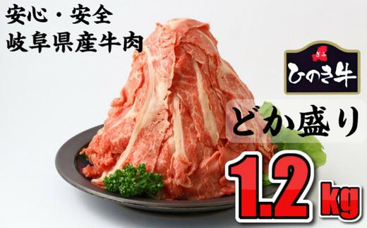 雌牛だけを厳選☆安心おいしい岐阜県産牛肉のドカ盛り1.2kg 切り落とし
