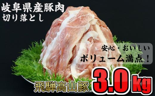 安心おいしい岐阜の銘柄豚「飛騨高山豚」 大満足の豚肉3.0kg 切り落とし