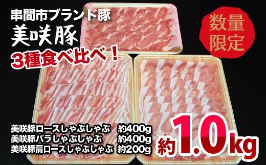 Y☆7《1kg!》【串間産ブランド豚「美咲豚」しゃぶしゃぶ食べ比べセット】