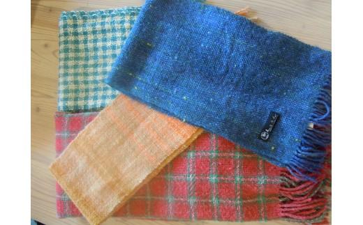 B501 サフォーク手つむぎ 手織りマフラー【1点】