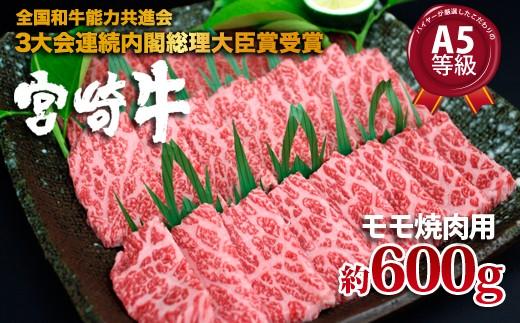 600g!【宮崎牛モモ焼肉用A】厳選したこだわりA5等級 A-206
