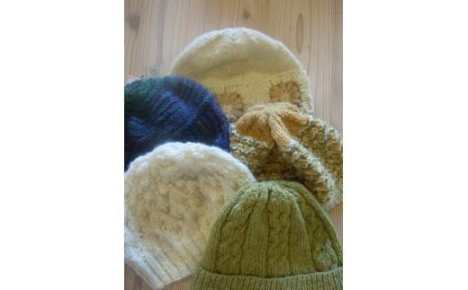 A502 サフォーク手つむぎ手編み帽子【1組】