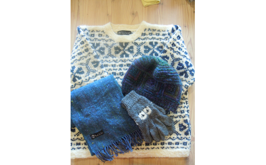 E503 サフォーク手つむぎニット4点セット【セーター、マフラー、手袋、帽子各1点】