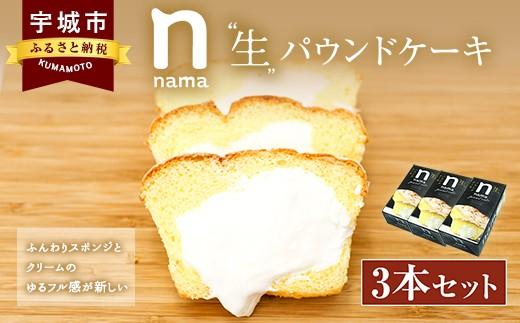 生パウンドケーキ 3本 生クリーム スイーツ シフォン生地