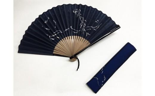阿波和紙扇子(鮎すかし紺)