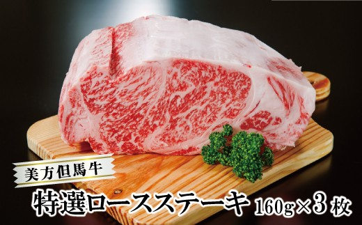 E-20【牧場直送の極上牛!美方但馬牛】特選ロースステーキ 160g×3枚