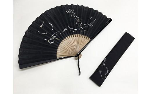 阿波和紙扇子(鮎すかし黒)
