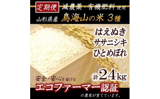 NE17 【3ヵ月定期便 計24kg】平成30年産米 有機肥料で育てた庄内米3種食べ比べセット 鳥海山の恵み HA