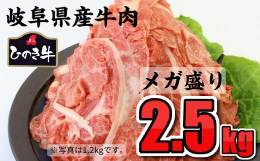雌牛だけを厳選☆安心おいしい岐阜県産牛肉のメガ盛り2.5kg 切り落とし