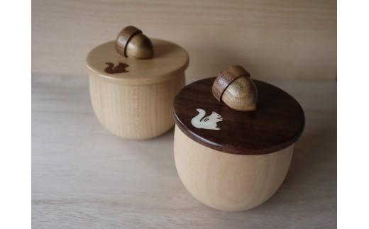 【貝・木象嵌】どんぐりのふた&どんぐりカップ ペアセット