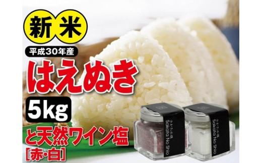 NA357 平成30年産 庄内米「はえぬき(精米)」5kgと天然塩「ワイン塩(赤・白)」2本 SI